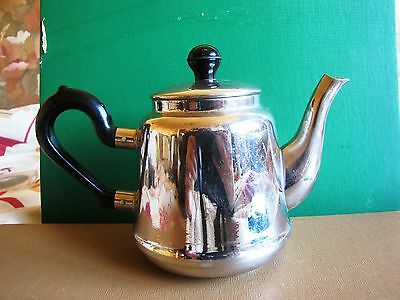 Vintage Russian Soviet kettle Tea pot brass chrome 1950s marked bird