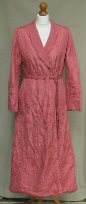 Pelaw Vintage 50s 60s pink quilted embroidered full length dressing gown 10  12