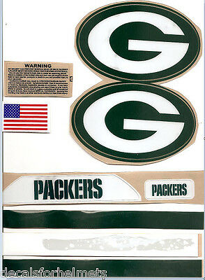 "GREEN BAY (2017) XL  PACKERS F/S-XL CURRENT HELMET DECALS /EXTRAS( 5"" x 3"" )"