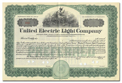 United Electric Light Company Stock Certificate