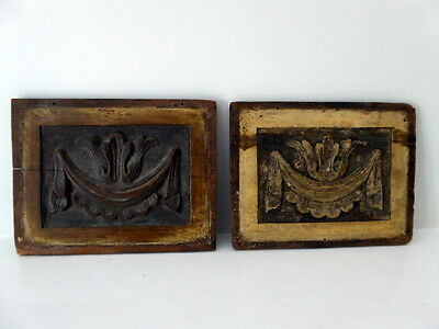 Pair Of Antique Hand Carved Wooden Panels ~ 9 Inches X 7 Inches