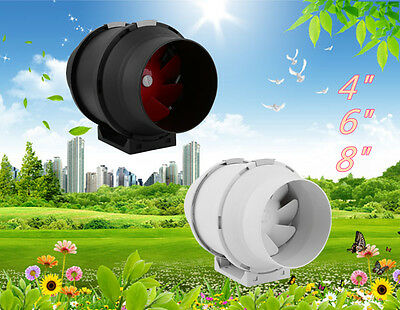 """4"""" 6"""" 8"""" Inline Exhaust Duct Fan Air Cooling Blower Hydroponic w/ Speed Control"""