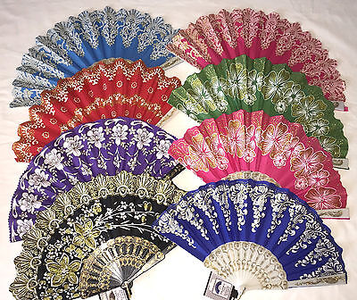 x1 Glitter Folding Hand Fan Bridal Wedding Dance Party Spanish Chinese Japanese
