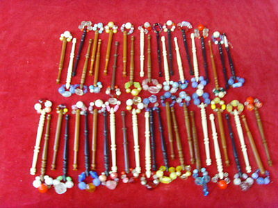 Job Lot Of 47  Lace Making Bobbins With Spangles