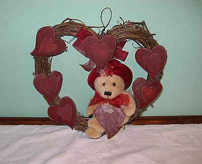 Dan Dee Collectors Choice Valentine Teddy Bear Grapevine Heart Wall Hanging Plaq