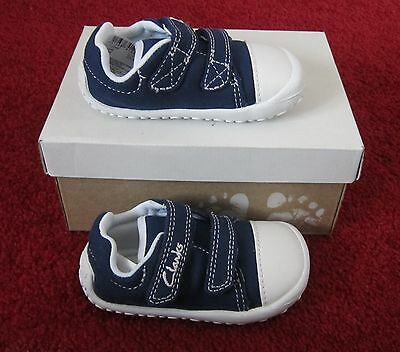 New In Box Baby Boys Clarks First Shoes Doodle Crib Navy Little Chap Uk 3 F