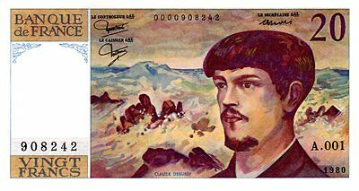 20 francs type Debussy 1980 - Fayette 66.1 - Alphabet A.001 (908242) - NEUF