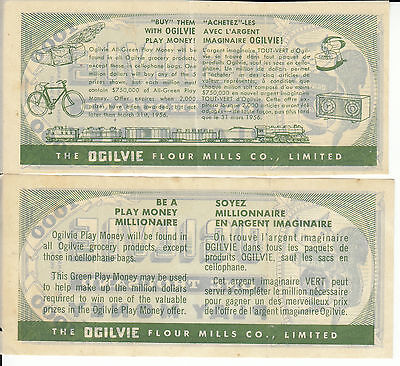 Canada Ogilvie 2 Different  Green Play Money Paper variation