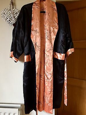 Vintage Chinese Black And Peach Dressing Dragon Gown/Robe