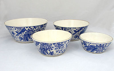 Vintage Waechtersbach 4pc bowl set,  Blue and White, Western Germany