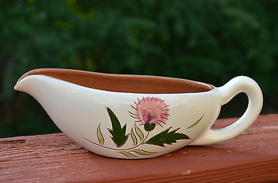 """VINTAGE Stangl """"Thistle"""" Hand Painted Pottery Gravy Boat"""