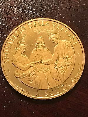 1999 San Marino 2 Scudi Gold Coin .1867 Of A Troy Ounce