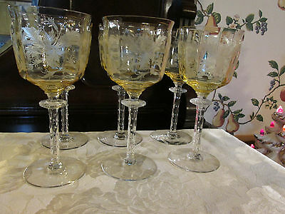 "Tiffin-Franciscan Cadena  yellow 6 water Goblet glasses 7 1/2"" 1930's"