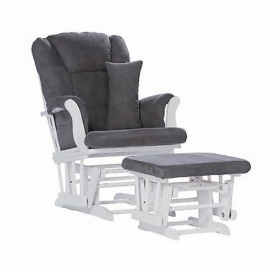 Stork Craft Tuscany Custom Glider and Ottoman with Lumbar Pillow White/Grey -NEW