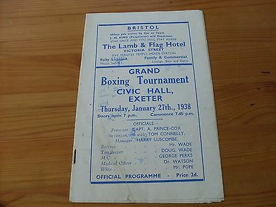 Johnny King v Billy Please at Exeter programme dated 27-1-1938    (B102)