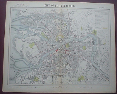 Antique map of the City of St. Petersburg Letts's 1882