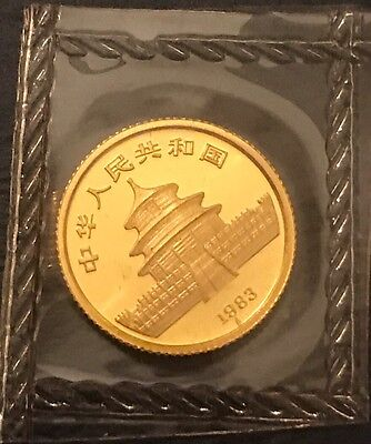 1983 China gold panda coin Sealed Mint Package 1st Year For 1/20th Ounce