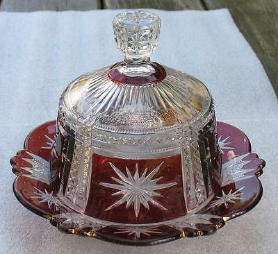 "EAPG CLEAR with RUBY STAIN   ""STAR in SQUARE""   COVERED BUTTER DISH"
