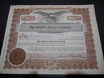 The Athletic Supply Company Stock Certificate 1929 Toledo Ohio Engraved Eagle