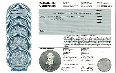 Bell Atlantic Corporation > 1984 old stock certificate share
