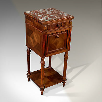 "Antique 15"" French Bedside Night Stand Pot Cupboard Fine Mahogany & Marble c1900"