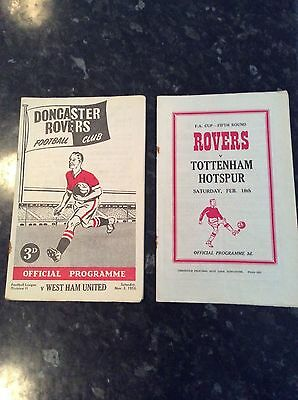 2 Items Doncaster Rovers V Tottenham And West Ham Utd In 1956 Fa Cup Spurs One