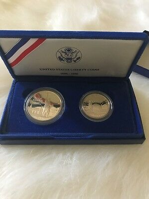 Sterling Silver United States Liberty Coins Set Of 2 1886-1986 New 26.730 grams