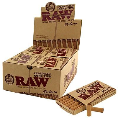 4X PERFORATED GUMMED 8PKS RAW Rolling Paper TIPS 4X Pre-Rolled PERFECTO CONE