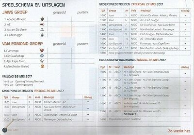 TERBORG TOERNOOI 2017  Incl MAN  MANCHESTER UNITED UTD  and others  Fixture Card