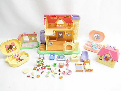Epoch Hamtaro Dollhouse Playset Lot--No Hamsters