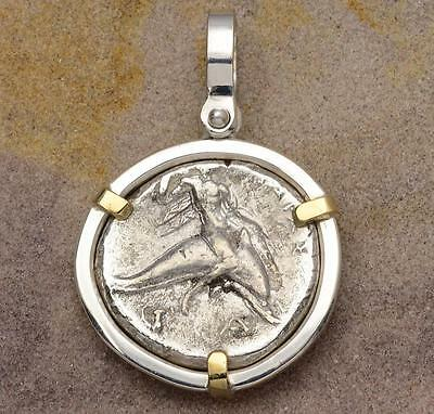 Ancient Greek Boy on Dolphin in Sterling Silver & 14kt Gold Pendant 280 B.C.