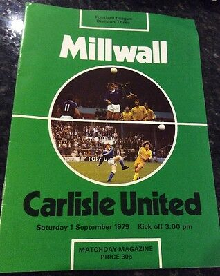 Millwall V Carlisle United 1/09/1979 Football Programme Good Condition
