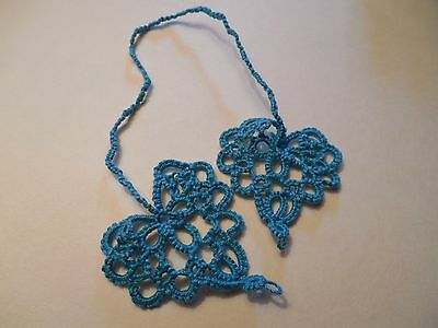 Tatted Bookmark Heart to Heart Teal Lacey Gifts Tatting by Dove Country