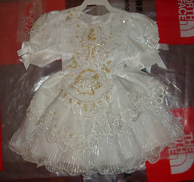 New Baby Girls Christening Baptism Wedding Formal Dress Gown White 12M