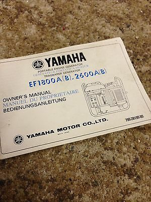 Yamaha EF1800A (b) Owners Manual 2600A (b) Outboard Motor