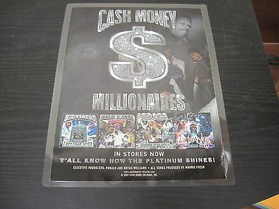 "CASH MONEY MILLIONAIRES New Orleans promotional Adverstisement 9"" X 12"""