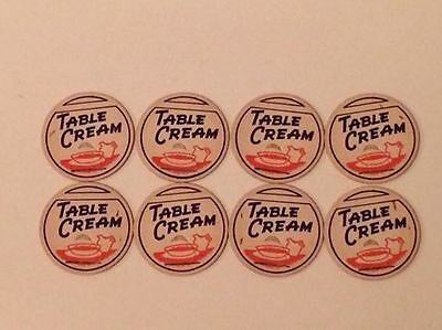 Table cream paper milk bottle caps new old stock set of 8 matching