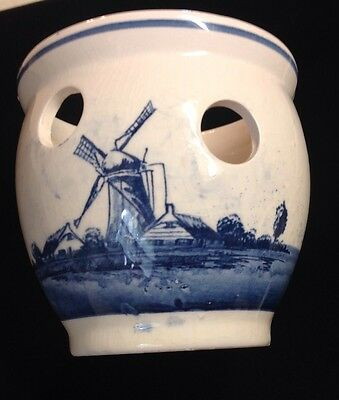 Blauw Delft Holland Hand Painted Blue & White Windmill Decorated Planter
