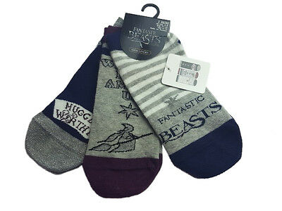 Ladies Socks Fantastic Beasts Size 4-8 Eur. 37 -42  3 - Pack Shoe Liners