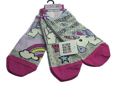 Ladies Socks Unicorn Size 4-8 Eur. 37 -42  3 - Pack Shoe Liners