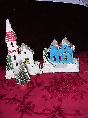 Vintage 2 Putz Mica Christmas  House & Church~ Japan+ a tiny bottle brush tree