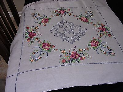 """#SS Vintage Linen Tablecloth Embroidered CrossStitch Floral Cottage Chic 30"""" Sq"""