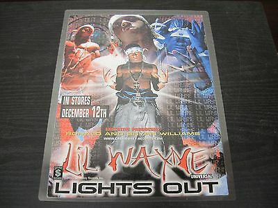 "LIL WAYNE ""Lights Out"" promotional Adverstisement 9"" X 12"""