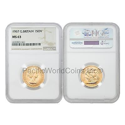 Great Britain 1967 Sovereign Gold Coin NGC MS63