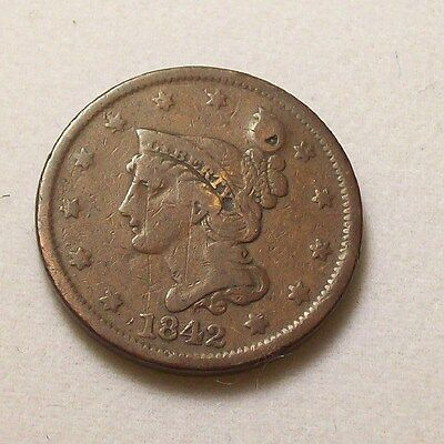1842 Coronet Head Large Cent ~ Braided Hair VG F  ~ 1 One US Coin