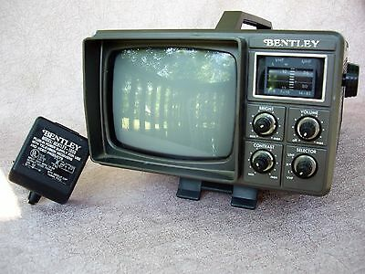 """Vintage Bentley 5"""" Black & White Portable TV Model 1000A With AC Adaptor EXCOND"""