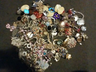 lot of broken vintage and costume jewlery lot crafts