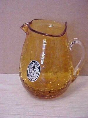 pilgrim hand blown art crackle glass small amber yellow pitcher
