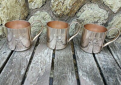 Set of 3 Shiny Metal Smirnoff Mule Copper Tint Tin Cup Mugs *Campfire Camping*