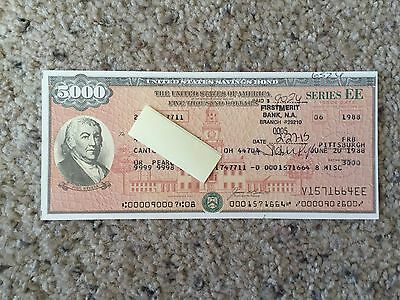 US Savings Bond Series EE Founding Fathers 2nd Edition $5,000 V1571664EE